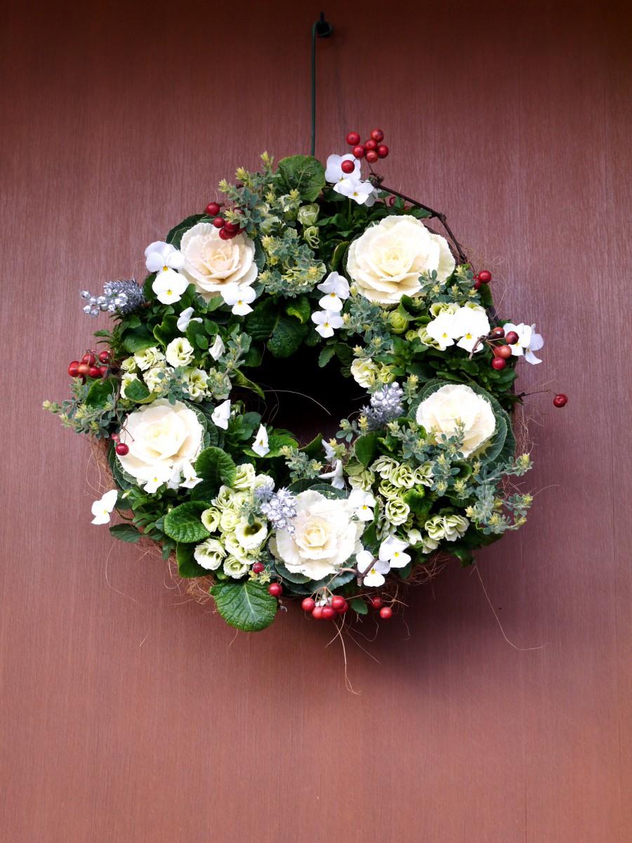 クリスマスリース・葉牡丹